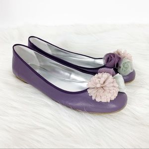 Talbots Lavender Leather Flats Floral Embellished